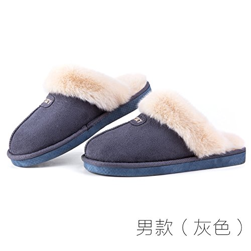 LaxBa Femmes Hommes chauds dhiver Chaussons peluche antiglisse intérieur Cotton-Padded Chaussures Slipper modèles masculins (gris clair) (270 verges) pour 39-40