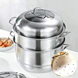 MANO 2-Tier Stainless Steel Steamer Pot 12 Inch Steam Pot Set for Cooking Pot with Lid Multipurpose Cookware Pots Stock…