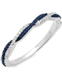 14K Gold Round Blue Sapphire & White Diamond Ladies Anniversary Wedding Band Swirl Stackable Ring