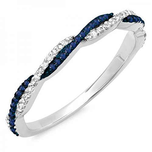 14K White Gold Round Blue Sapphire & White Diamond Ladies Wedding Band Swirl Stackable Ring (Size 7)