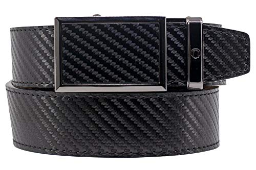 2019 Go-In! Traditions Carbon Black Leather Golf Belt for Men with Adjustable Ratchet Buckle and Hidden Ball Marker - Nexbelt Ratchet System Technology