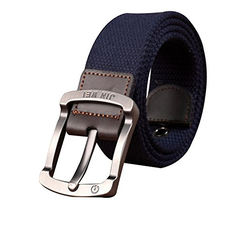 Sitong Men's outdoor leisure pin buckle canvas belt(Deep Blue) (Blue Canvas Belt)