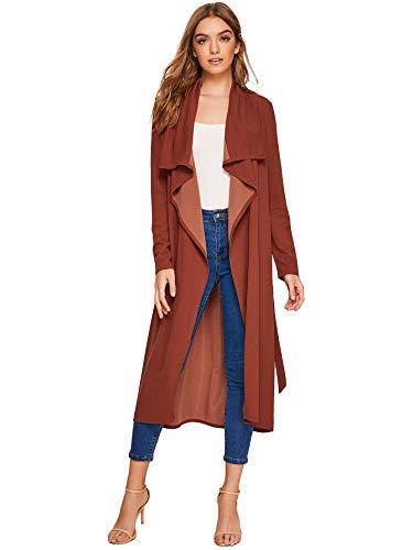 Verdusa Women's Casual Long Sleeve Lapel Outwear Duster Coat Cardigan Rust L