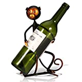 Wine Rack Metal Ant Monkey Sculpture Wine Bottle Holders Storage Vintage Table Top Wine Display Stands Cabinet Home Bar Party Decor 1 Bottle Organizer Rack Gifts (Hug Wine Rack, for 1 Bottle)