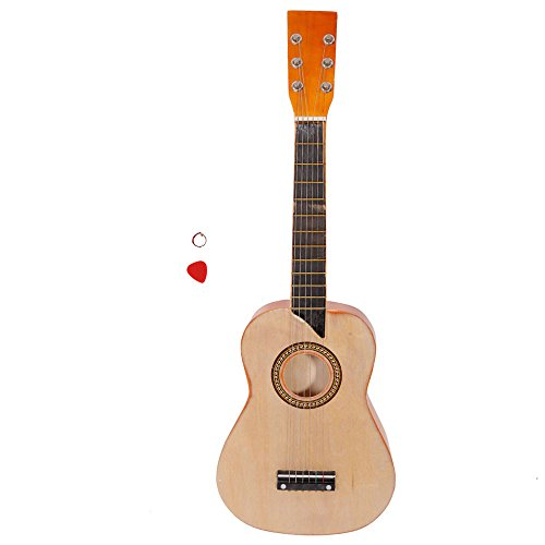 25 Inch 6 String Acoustic Guitar Musical Instruments Toys for Beginners with String and Pick(Wood color) by OASIS FOX