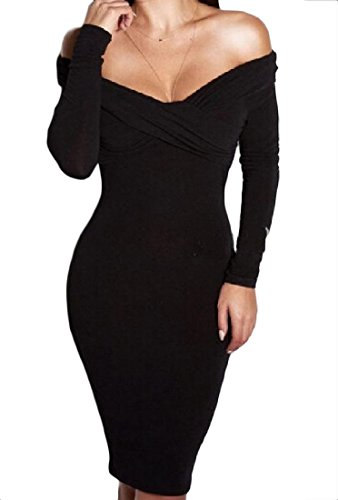 Bodycon Coolred Thicken Mid Shoulder Off Women Black Length Elegant Dress XBnRa6wq