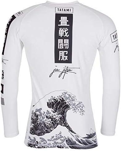 Tatami Rash Guard Kanagawa Long Sleeve Black BJJ No-Gi Jiu Jitsu MMA Compression