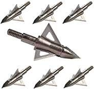 "Bowhunting 100 125 Grain, 3 Blade Broadhead Steel Tips for Archery Crossbow Bolts Arrows, 1"" Cutting Diam"