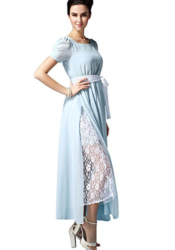 Wendy Chiffon Frauen Spitze Maxi Puffed Split Hellblau Kleid Double Layer Kurzarm ONECHANCE 8nRH4