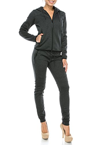UPSCALE Women's Tech Fleece Activewear Set Charcoal - Upscale Women