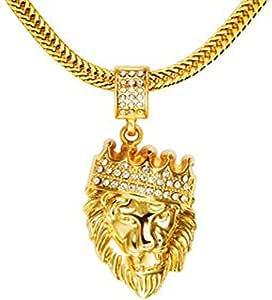Diamond Crown Lion Head Hip Hop Pendant Necklace