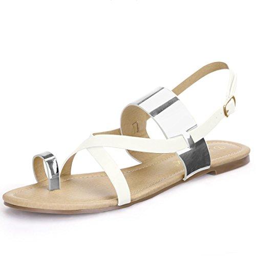 Sandals K Silver Toe Women Flat Metallic Loop Allegra xfYzTdqz
