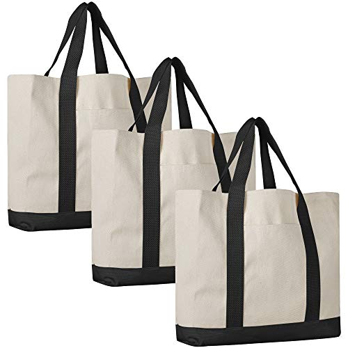 Pack of 3 - Heavy Duty Cotton Canvas Twill Travel Tote Bags Large Thick Reusable Blank Tote Bags - Shopping Grocery Bags Eco Friendly Canvas Bags in Bulk (Black)