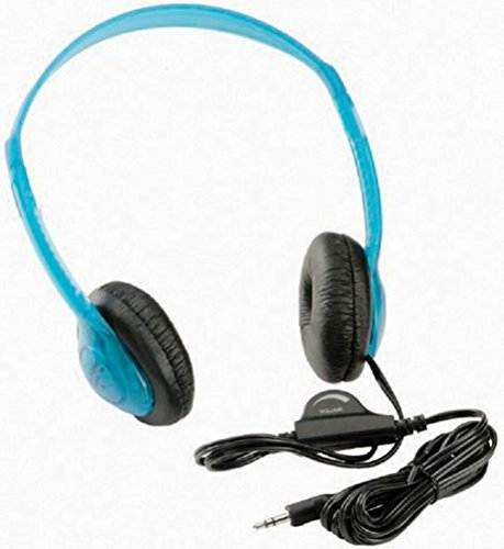 Califone 3060AVBL Multimedia Stereo Headphones, Blueberry; Fully adjustable, lightweight headband fits all students; Recessed wiring resists prying fingers for classroom - Classroom Califone Stereo Headsets Multimedia