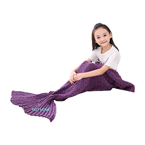 Thick Mermaid Tail Blanket ,Handmade Mermaid Knitted Blanket for Kids, Girls and Adults, Winter Super Soft Sleeping Bags (purple-103(thick))