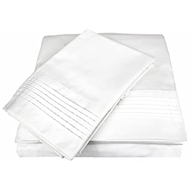 D. Charles Luxury 700 Thread Count Pleated Hem Sheet Set with Bonus Pillowcases - Wrinkle Resistant Cotton Blend - King, White