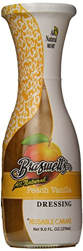 Braswell Carafe Dressing, Peach Vanilla, All Natural 9 Oz (Pack of 3)