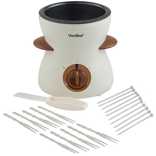 VonShef 500ml / 17oz Electric Chocolate Fondue Melting Pot, Warmer, Chocolatier - Includes FREE Spatula, 10 Skewers & 10 Forks by VonShef (Image #2)