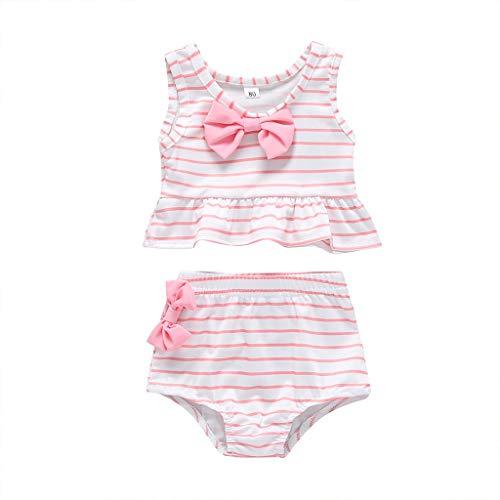 - ❤️ Mealeaf ❤️ Toddler Kids Baby Girl Bow Swimsuit Striped Bathing Suit Bikini 2pc Set Swimwear(Pink,90)