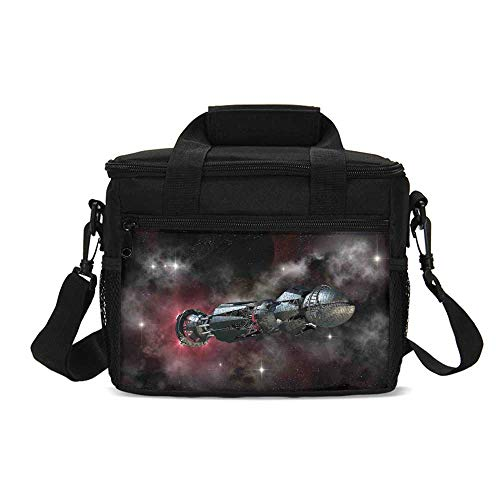 Galaxy Durable Lunch Bag,Spaceship in Interstellar Travel on a Galactic Starfield Alien Fantasy Science Fiction for Picnic Travel,9.4