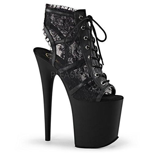 Pleaser Lace Platforms - Pleaser Women's Flam896lc/bm/m Platform Sandal, Mesh Lace/Black Matte, 8 M US