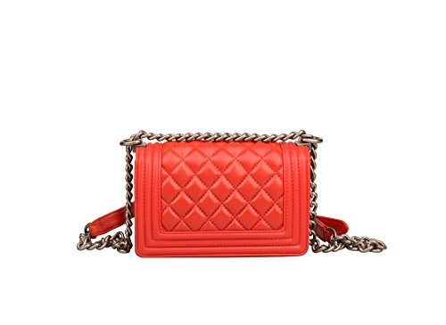 Strap Purse Leather Genuine Women's Small Red Ainifeel Wallet Chain Quilted Bag L Crossbody AY16Z5qw