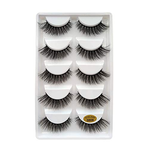 Lakkio 5 Pairs Pure Mink Hair Eyelashes 3D Eyelashes Extension Natural Dense False Eyelashes Handmade Lashes Set ()
