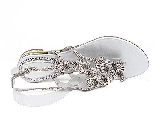 Diamante Chancletas T Imitación Zpl En Sandalias Silver Zapatos De Mujer Plano Señoras Bohemia Verano Playa Correa XqqYz8w