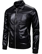 WYTong Men's Coat,Nightclub Bright Solid Color Stitching Lapels Fashion Jacket with Pockets Zip-Out Liner Tops(Black,XL)