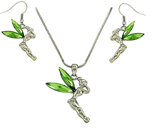 DianaL Boutique Fairy Tinkerbell Pendant Necklace and Earrings Set Green Crystal Tinker Bell Gift Boxed Fashion Jewelry