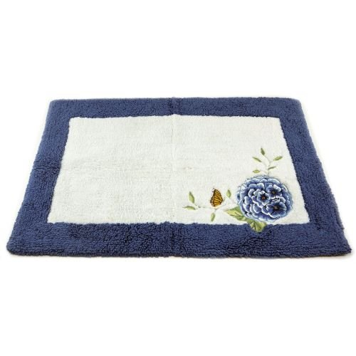 Garden Butterfly Bath Towel (Lenox Embroidered and Applique Tufted Bath Rug, Blue Floral Garden)