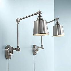 Interior Lighting Mendes Modern Wall Lamps Plug in Set of 2 Brushed Nickel for Bedroom Living Room Reading – 360 Lighting modern wall sconces