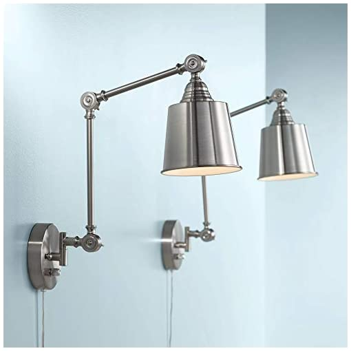 Interior Lighting Mendes Modern Industrial Adjustable Swing Arm Wall Lamps with Cord Set of 2 Brushed Nickel Plug in Light Fixture… modern wall sconces