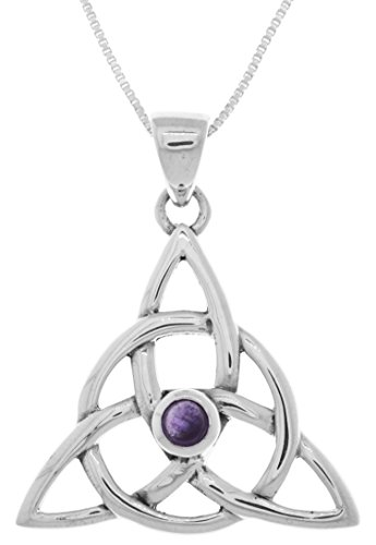 """Jewelry Trends Celtic Triquetra Trinity Sterling Silver Pendant Necklace 18"""" Amethyst"""