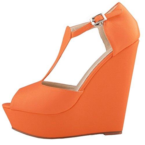 Tacón Zapatos matte Orange Mujer EKS Naranja de Ed1wxqdY7