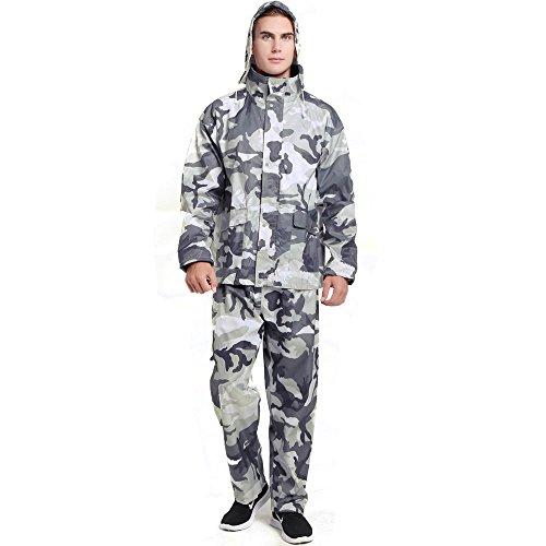Spring Fever Men Women Motorcycle Rain Suit with Hideaway Hood Waterproof Raincoats Grey Camouflage XX-Large