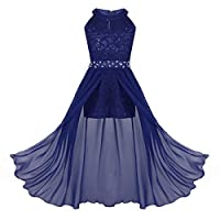 ranrann Kids Girls Sleeveless Floral Lace Shiny Rhinestone Maxi Dress Birthday Party Formal Dance Romper Gown