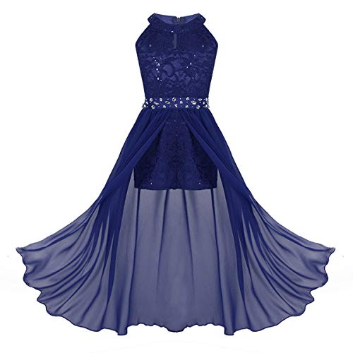 ranrann Kids Girls Sleeveless Floral Lace Shiny Rhinestone Maxi Dress Birthday Party Formal Dance Romper Gown Blue 9-10