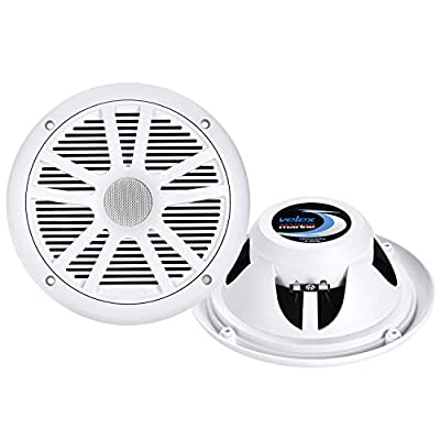 Marine Audio System Stereo Speaker Package, Bluetooth, MP3 USB AM FM Marine Stereo - 2 x 6.5 Inch White Speakers, Antenna: Car Electronics