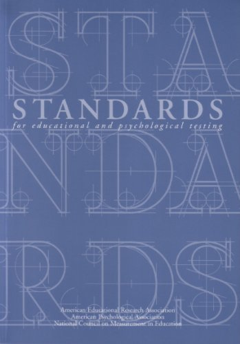 Standards for Educational and Psychological Testing 1999 2nd edition by Association, American Psychological; Educa, National Council published by Amer Educational Research Assn Paperback