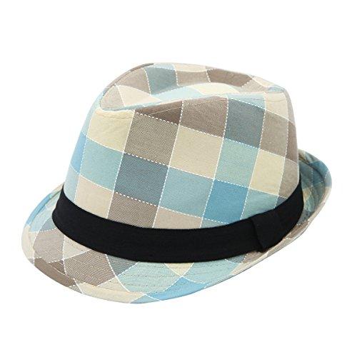 (Premium Multi Color Plaid Stitch Black Band Fedora Hat, Light Blue)