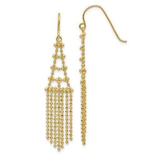 - 14k Yellow Gold Beaded Drop Dangle Chandelier Earrings Fine Jewelry Gifts For Women For Her