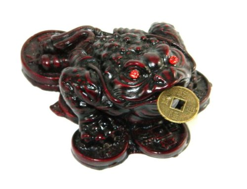 New 70mm Asian Fortune Frog Red Resin Figurine Chinese Coins Feng Shui Statue Decor MY-2222