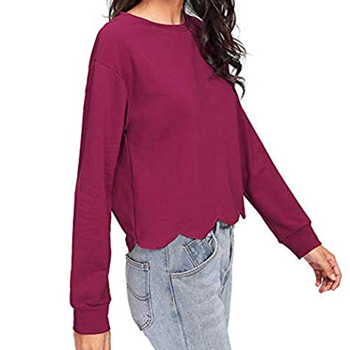 Vin Rouge Shirt Shirt T Manches AIMEE7 Tops Femme Irrgulier Lache Sweat Longues Blouse Rond Col Uwx0O6