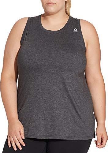 Reebok Women's Plus Size Heather Jersey Tank Top (DGH Single Dye, ()