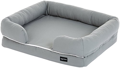 AmazonBasics Small Pet Dog Sofa Bolster Lounger Bed - 25 x 20 x 6.5 Inches, Grey