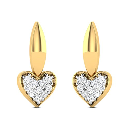 JewelsForum 14Kt Yellow Gold Studs Diamond Earrings 0.2 Carat TCW 20 Round Cut Diamonds HI Clarity I (0.2 Ct Diamond Earrings)