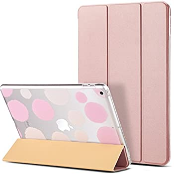 ULAK iPad 2017/2018 iPad 9.7 inch Case, Slim Lightweight Smart Case Trifold Stand with Auto Sleep/Wake Function, Hard Back Clear Polka Dot Cover for Apple iPad 9.7-inch 5th 6th Gen, Rose Gold