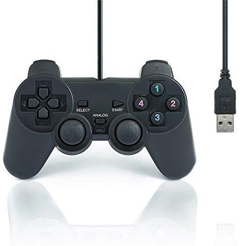 QUMOX Doble Vibración USB Joystick del regulador del Juego para PC