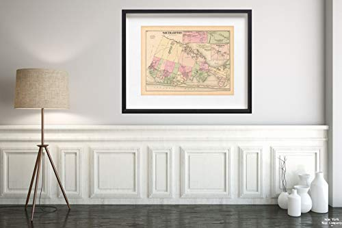 Map|Atlas of Long Island, New York, South Hampton 1873 City|Vintage Fine Art Reproduction|Size: 18x24|Ready to Frame